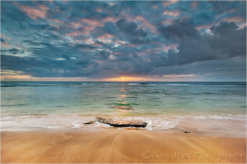 Sunset on Kauai's Ke'e Beach, Hawaii