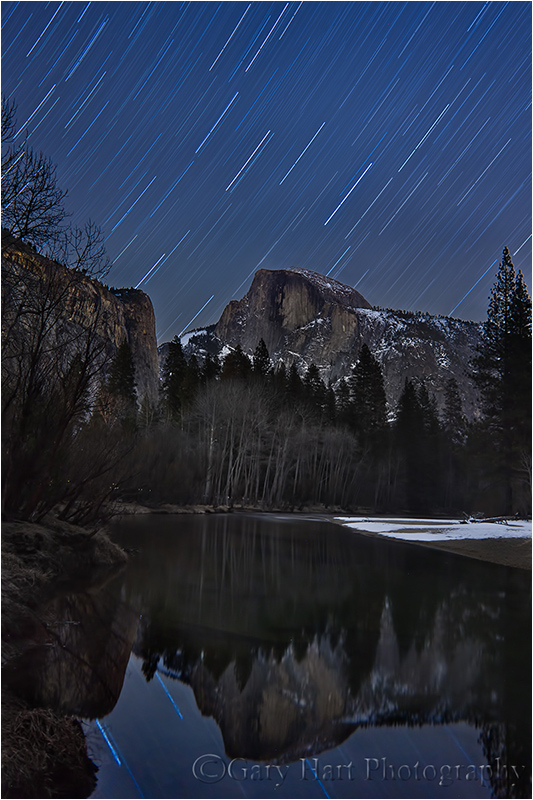 Winter Star Trail Reflection, Half Dome, Yosemite