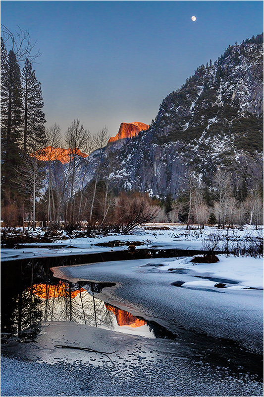Moonrise, Half Dome and the Merced River, Yosemite
