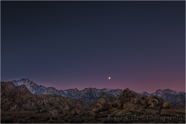 Moonset, Mt. Whitney, Alabama Hills, California