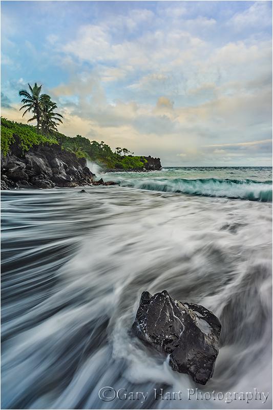 Sand and Foam, Wai'anapanapa Black Sand Beach, Mau