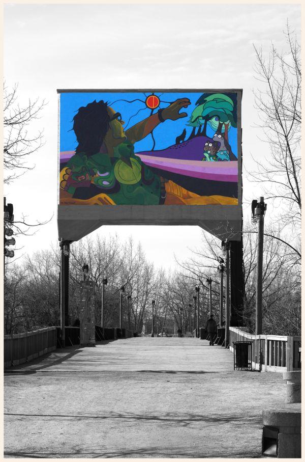 Mural on bridge