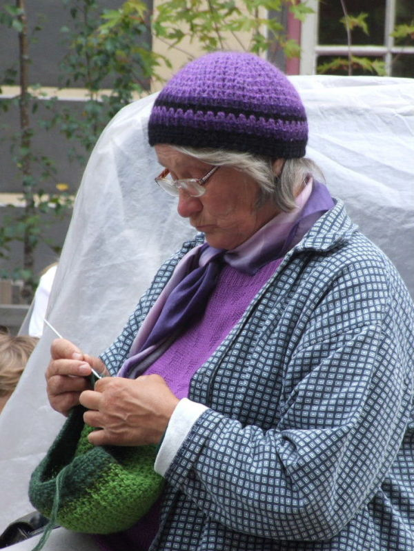 a knitter at work
