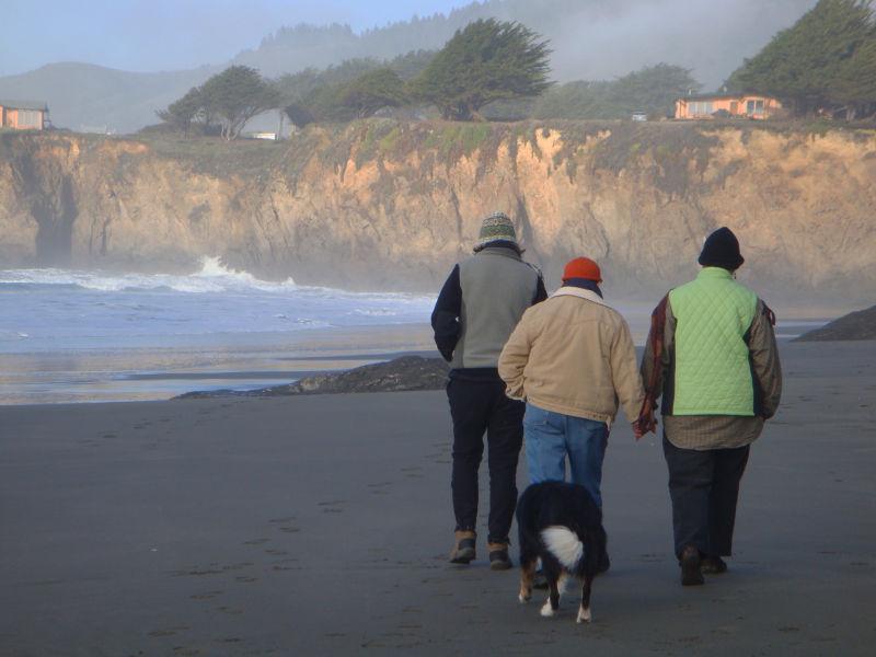 Friends leaving the beach
