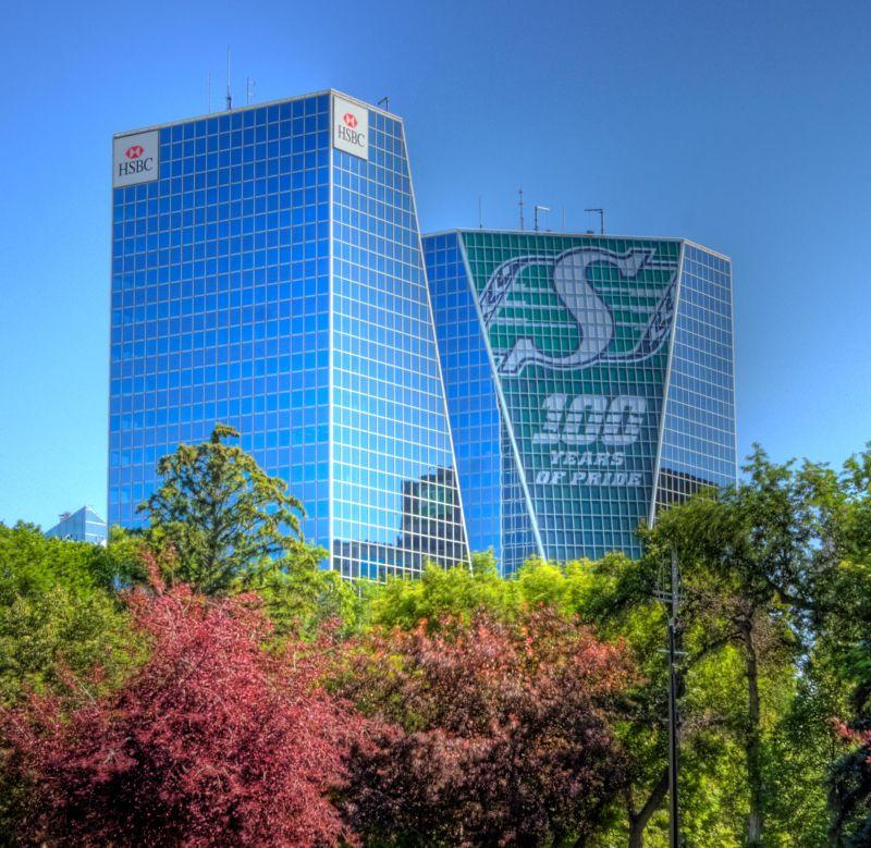 The Twin Towers in Regina & Rider Pride
