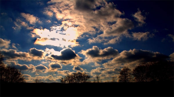 HDR, Germany, Sky, blue, clouds, silhoutte