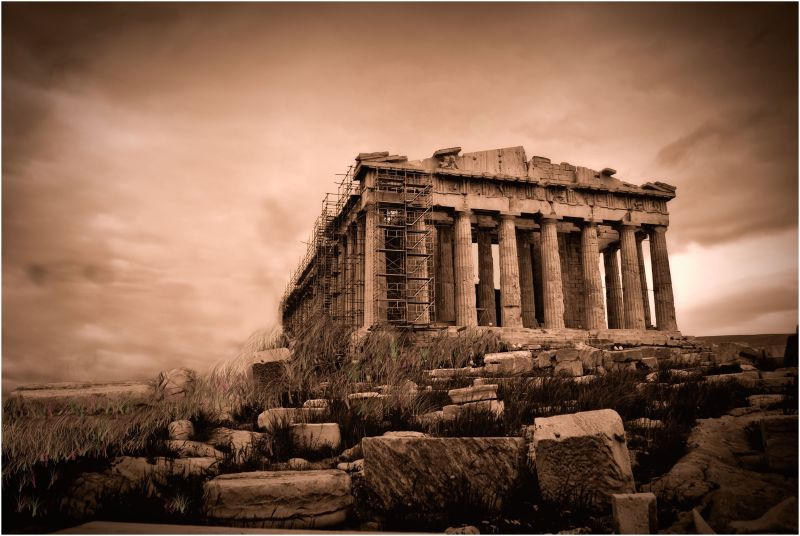 This is a fantasy picture of the parthenon, greece