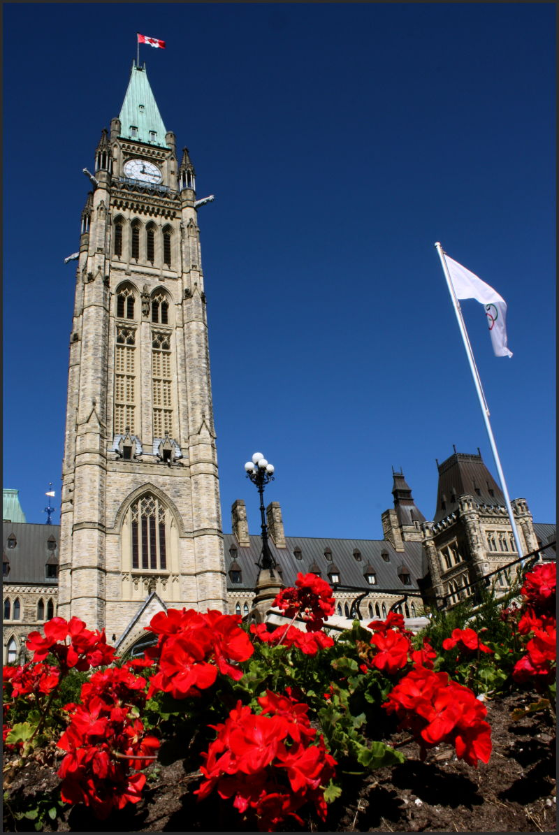 The clock tower at Parliament Hill in Ottawa