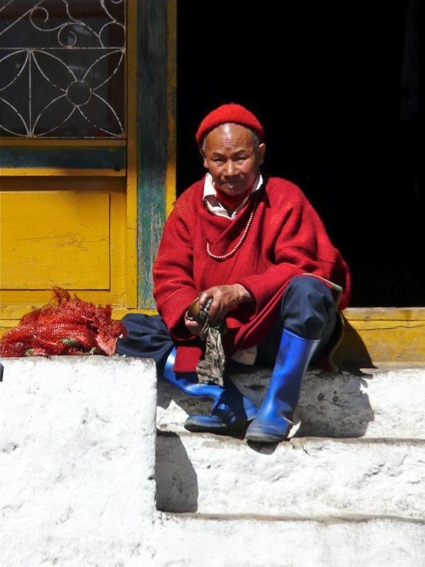 vieux moine dans un grand monastère bouddhiste