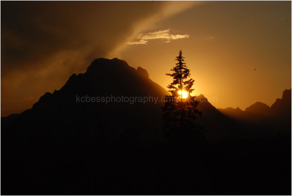 sunset on tetons