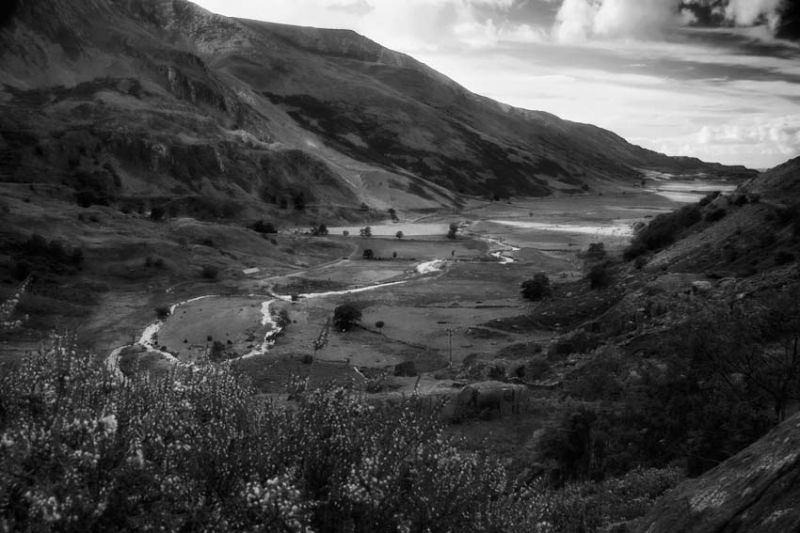 Welsh Valley in Snowdonia B&W