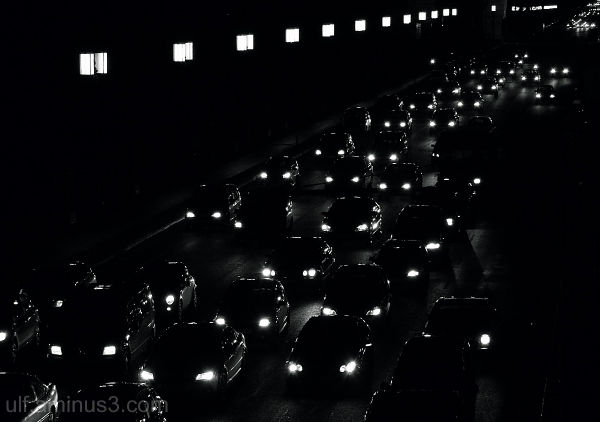traffic jam after dark