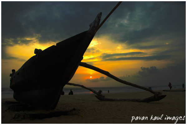 sunset on Goan beach