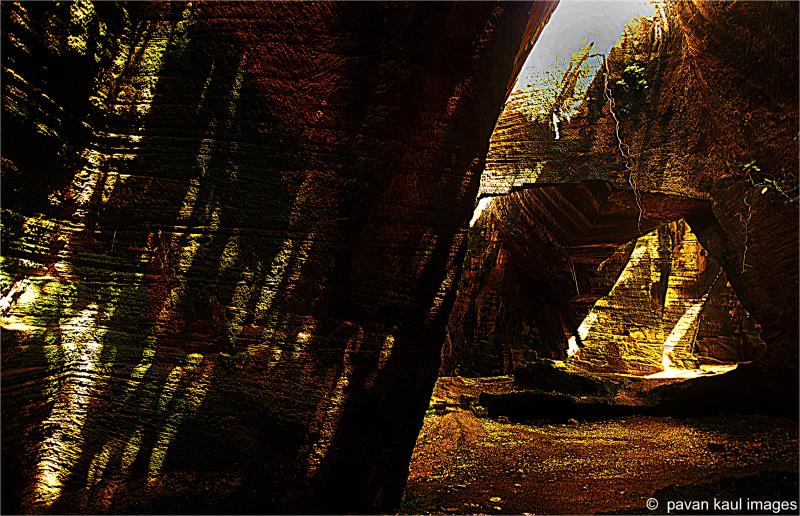 rays of light in dark caves