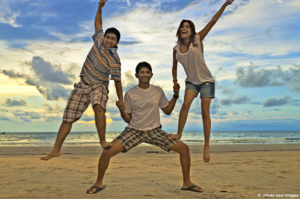My kids having a blast on goan beach
