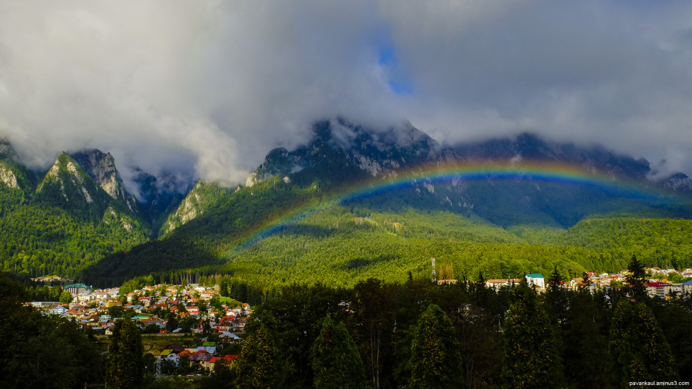 rainbow over busteni in romania