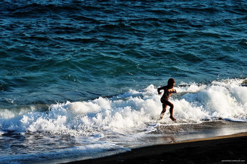 Boy on a beach in Cannes