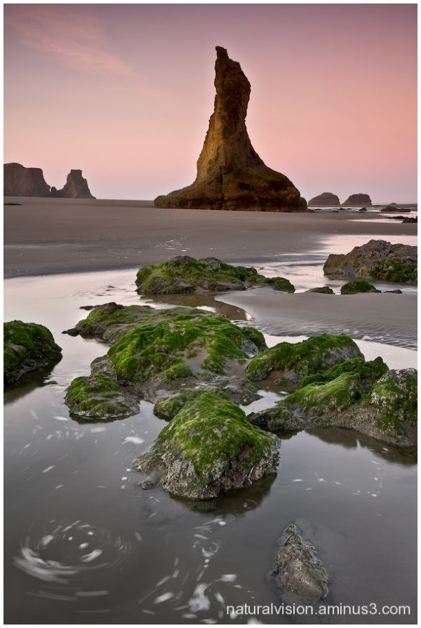 bandon beach shoreline Oregon