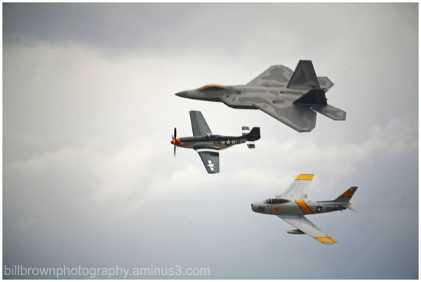 Heritage Flight - F-22 Raptor with F-86 and P-51