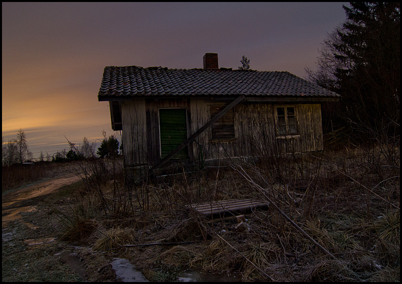 Old farmhouse at night