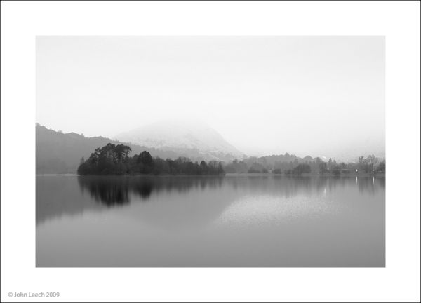 Grasmere lake in the english lake district dusk