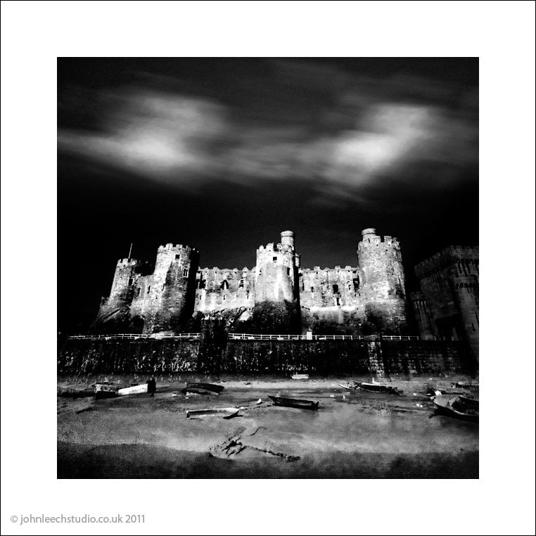 conwy castle north wales black and white photo
