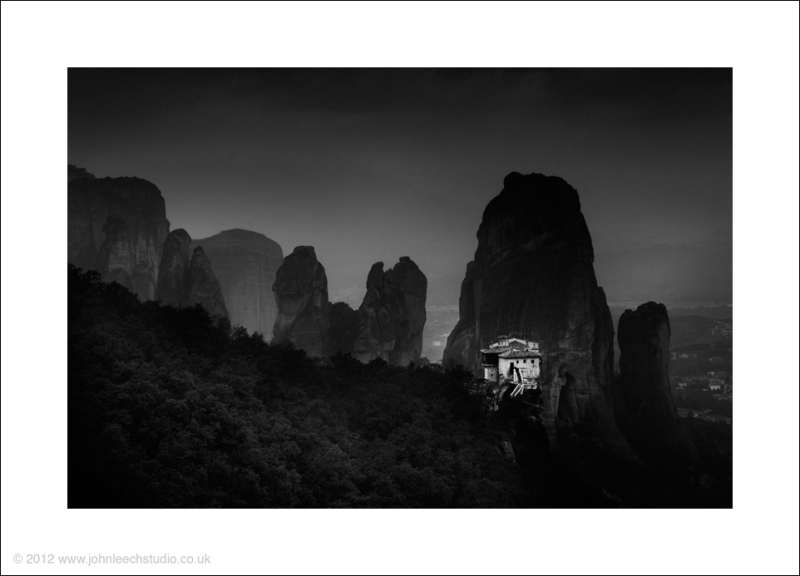 meteora greece black and white creative landscape