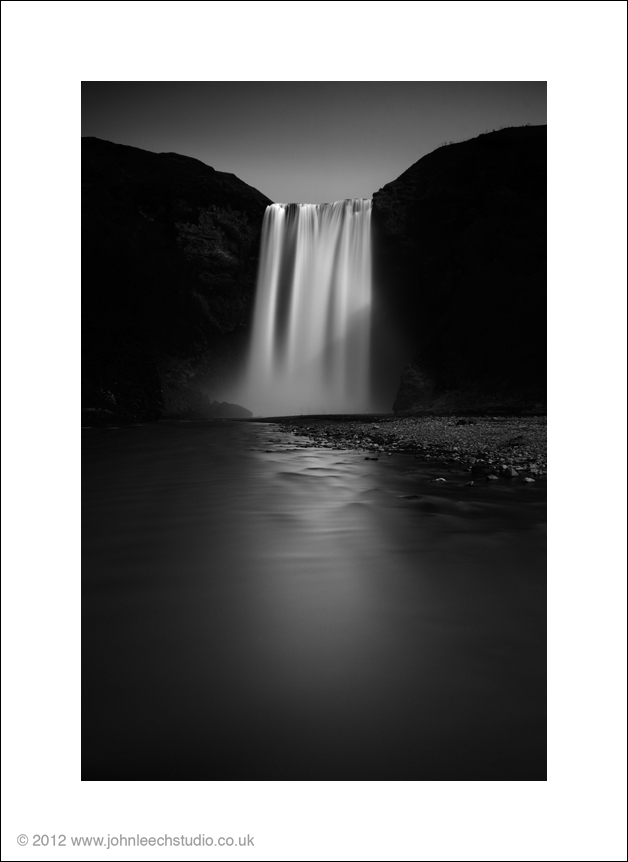 skogarfoss waterfall iceland black and white