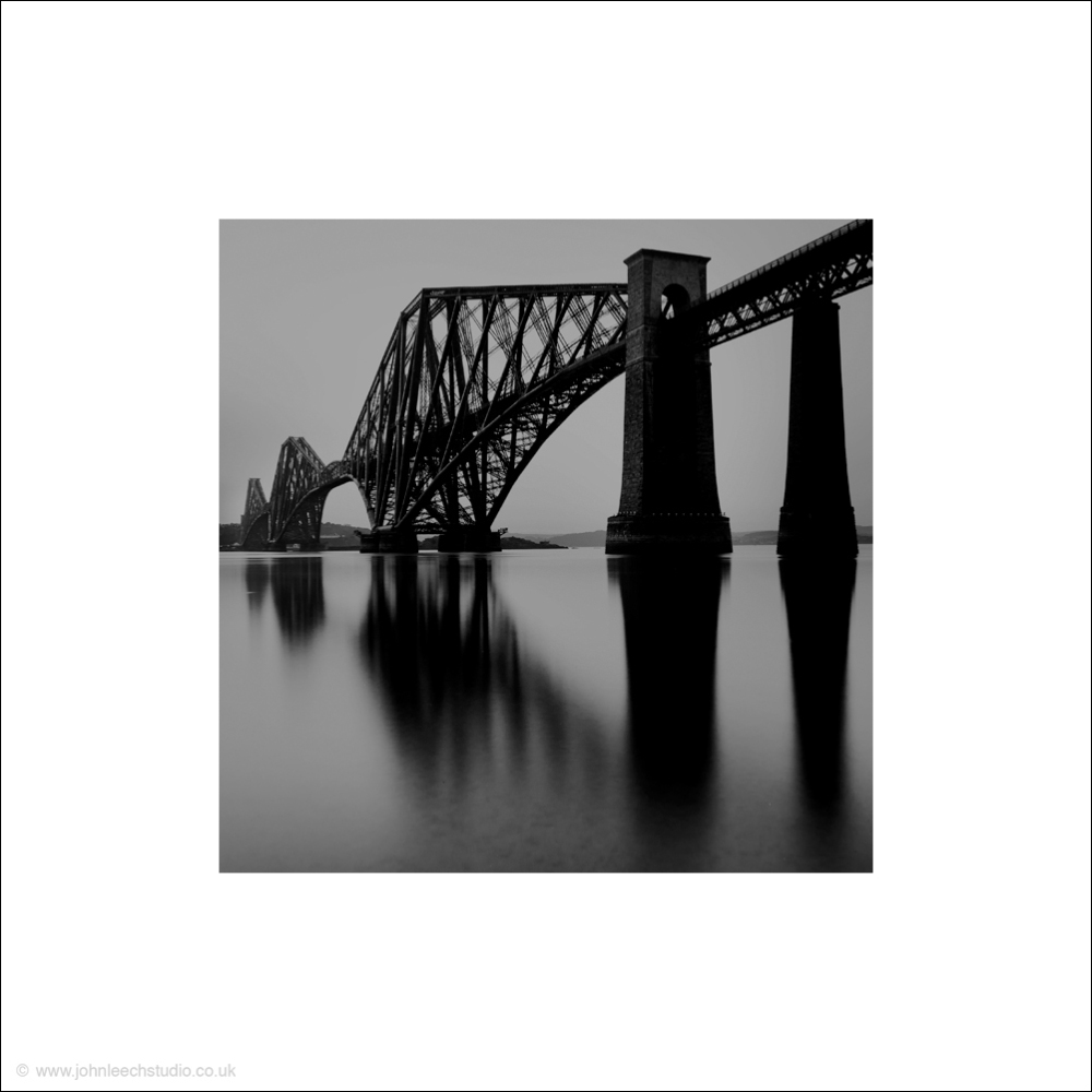 forth rail bridge black and white photograph