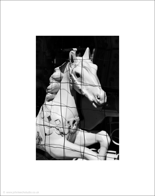 carousel horse white caged