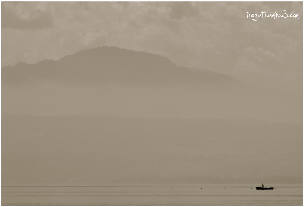 mountain, lake, fisherman