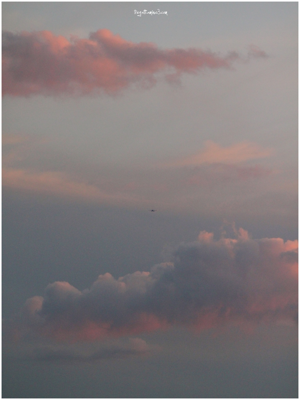 clouds, plane, sunset