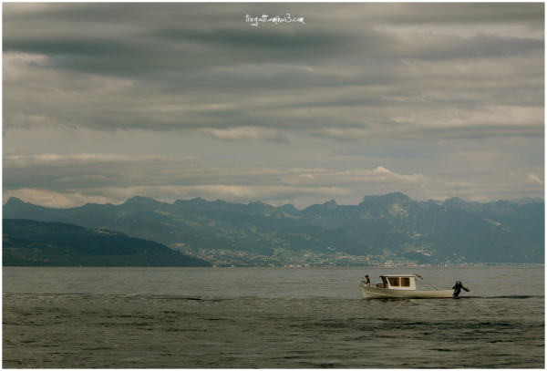 lake, boat, mountain, clouds, child