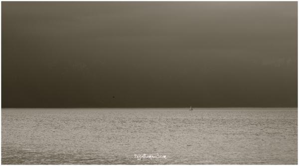 lake, clouds, sailboat, black kite, mountains