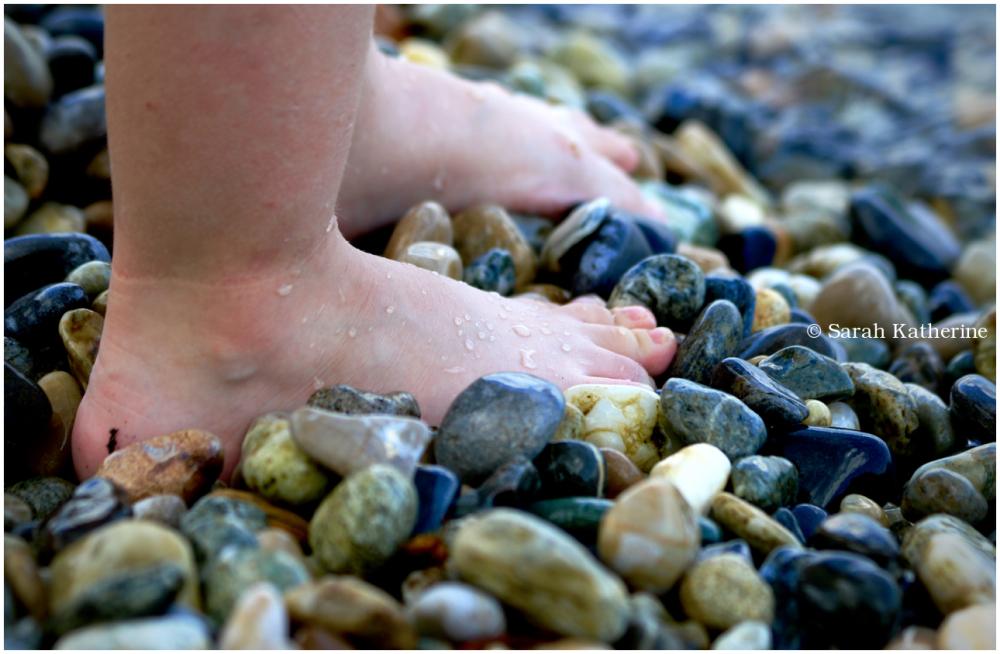feet, beach, pebbles, lake