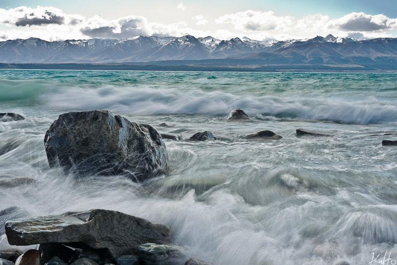 Waves and Rocks at Lake Pukaki