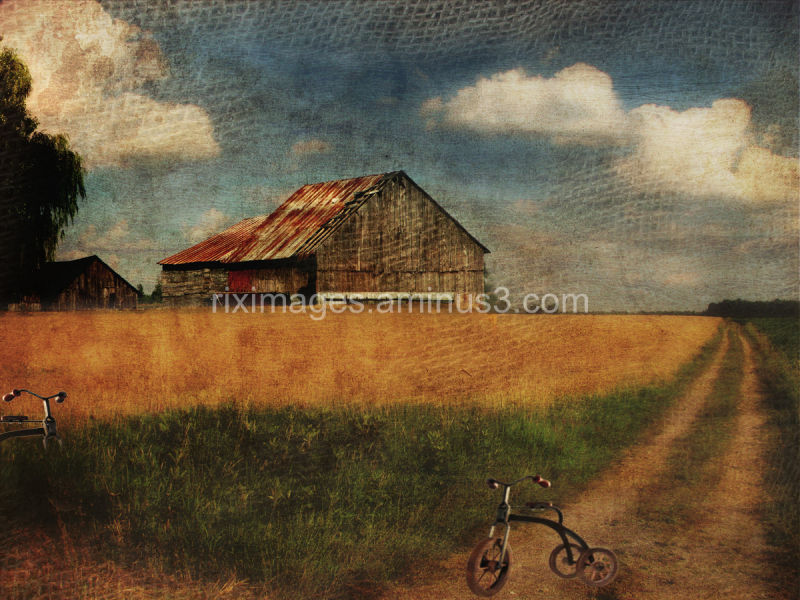 Conceptual nostalgic field and farm