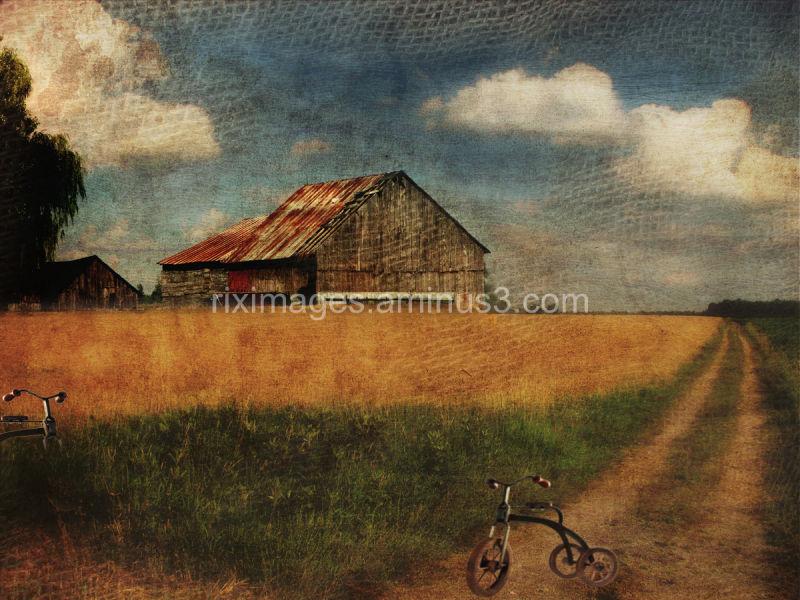 Conceptual nostalgic field and farm