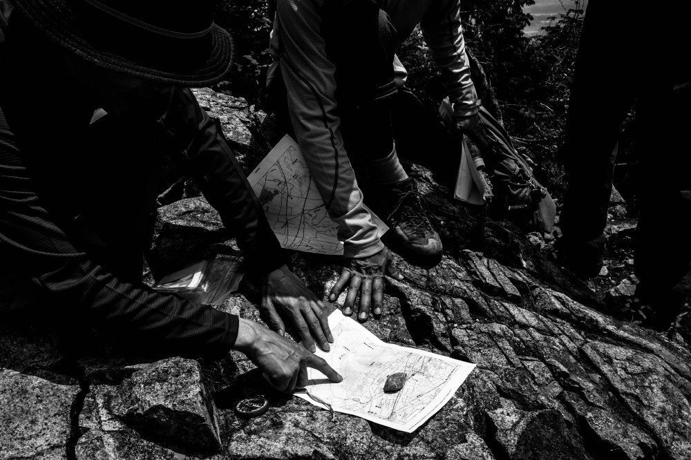 mountain bw map compass