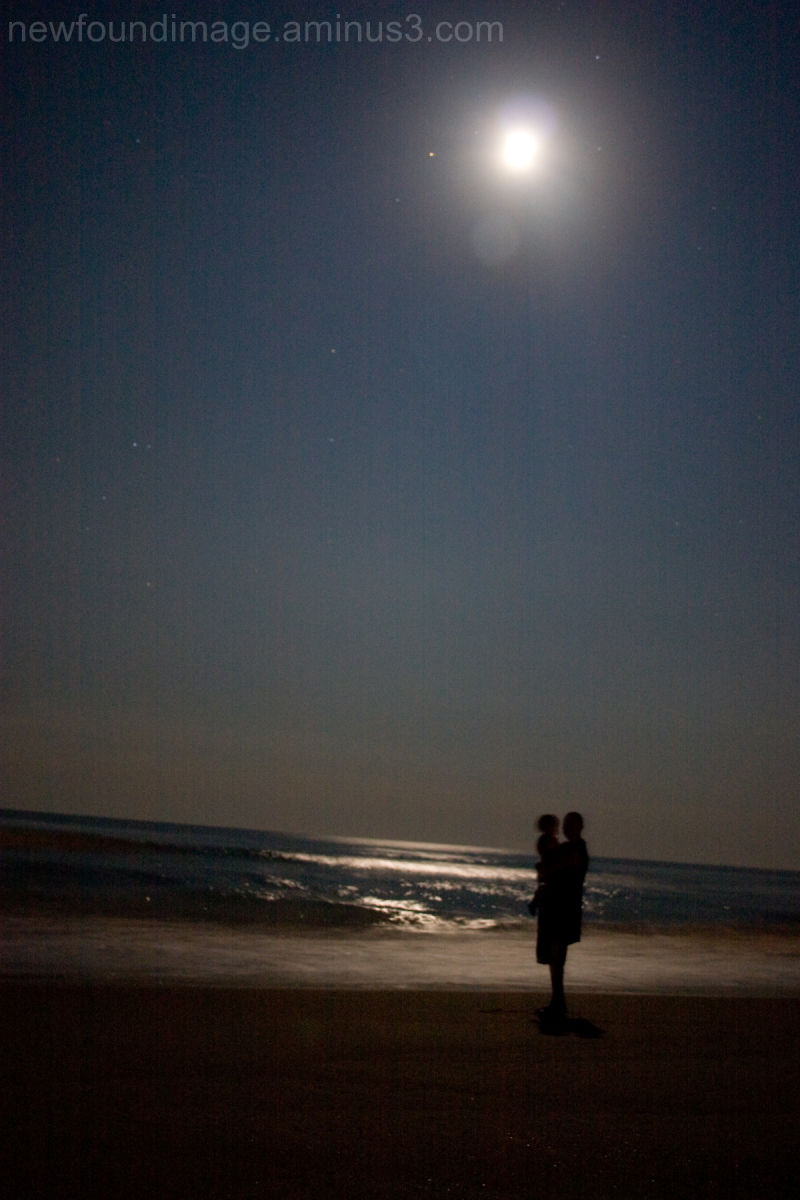 Silhouette of people in the moonlight.