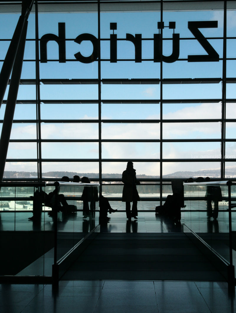 Zurich Airport Silhouette travelling
