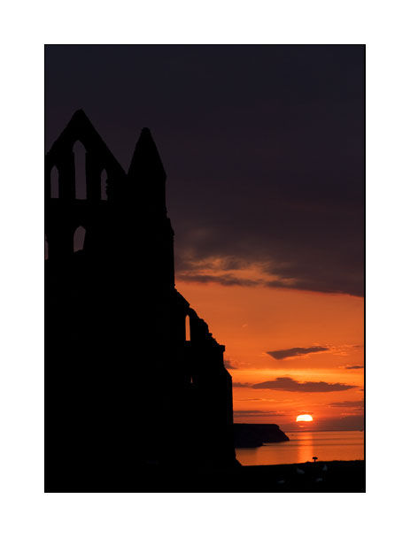 sunset at Whitby Abbey