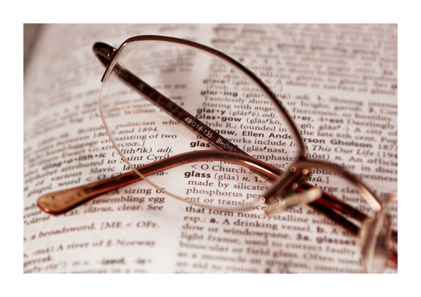 Glass dictionary glasses