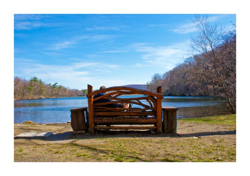 bench, chair, couple, lake