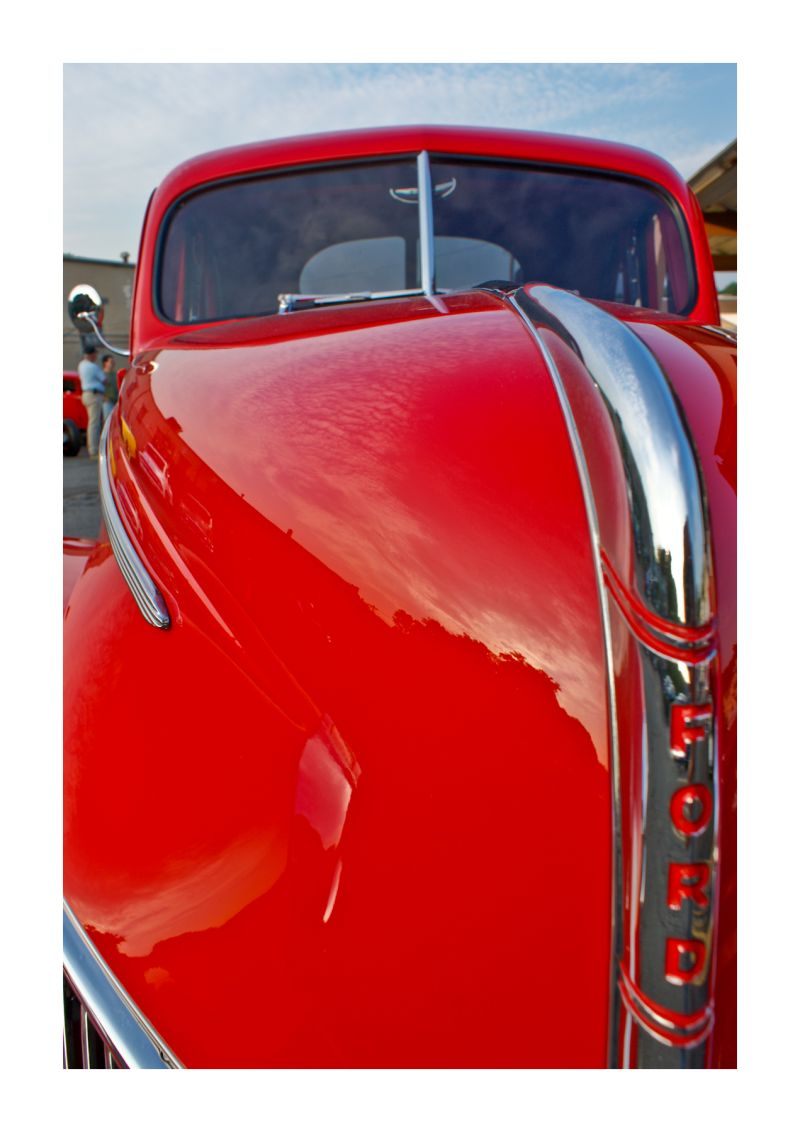 car, classic, ford, red, reflection