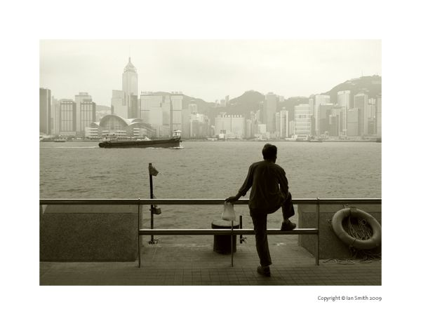 Man and Hong Kong Harbour