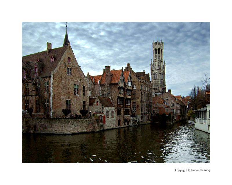 View from Rozenhoedkaai canal, Bruges