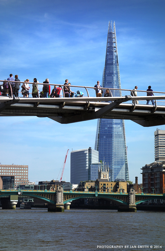 View of Shard and Millennium Bridge, London