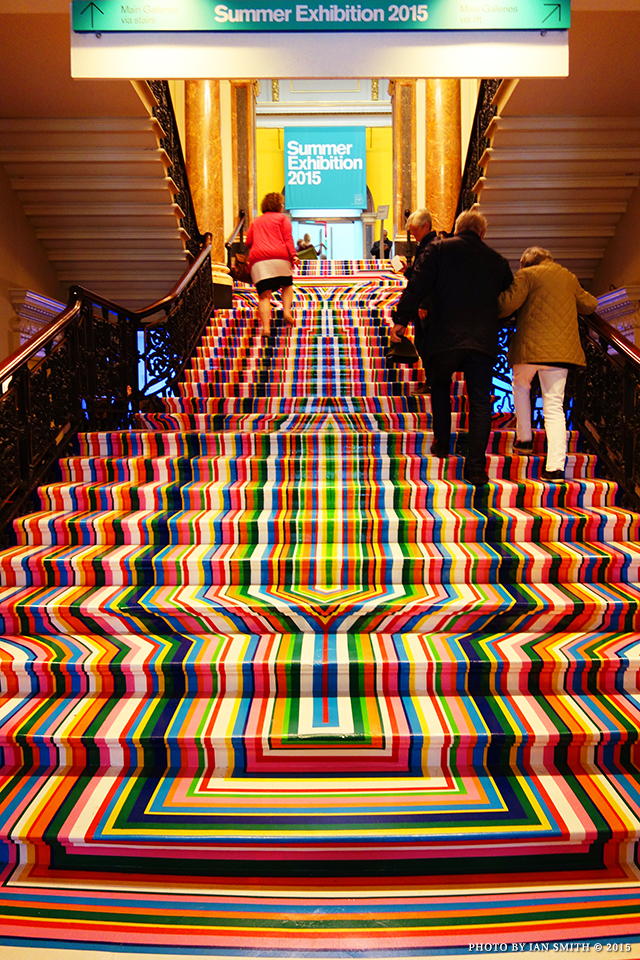 Colourful staircase at London's Summer Exhibition