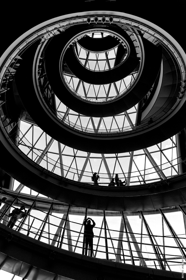 Looking up inside London's City Hall